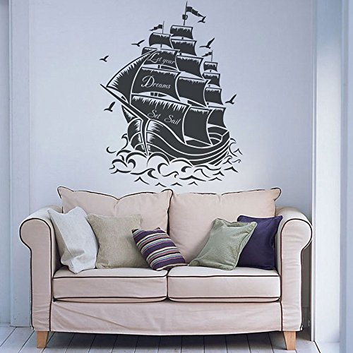 "mairgwall nave pirata in vinile da parete Marine Let Your Dream Set Sail Art Vinyl, Vinile, Black, 54""h x41""w"