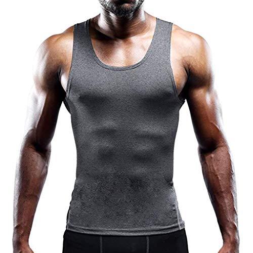 UINGKID Homme Débardeur de Sudation Gilet Sport Musculation Shaperwear Slim Fit T-Shirt Elastique sous-Vêtements sans Manches Col Rond