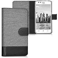 kwmobile Custodia portafoglio per Huawei Y3 II (2016) - Cover in simil pelle a libro Flip Case con porta carte funzione appoggio grigio nero