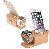 Shopizone Natural Bamboo Wooden Charging Dock Mobile Holder For iPhone And iWatch (38mm and 42mm)