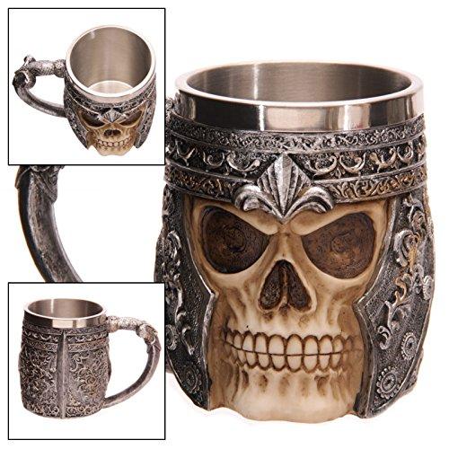 Dobo® tazza ornamentale scheletro teschio guerriero elmo ottimo boccale per birra vino vichinga bevande foderato internamente in metallo