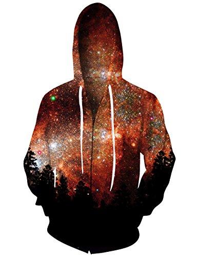Chicolife Zip Hoodie Galaxy Männer Bunte HD 3D gedruckt Pullover Unisex Harajuku Langarm - Sweatshirt mit Kapuze Mantel