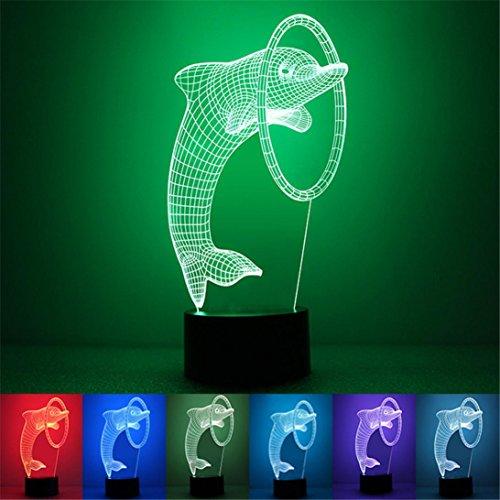 Jar-küche Dekor (3D Delphine Gestalten USB Licht HARRYSTORE Einzigartig Nacht Beleuchtung Auswirkungen Zuhause Dekor LED Steuern Tabelle Lampe)