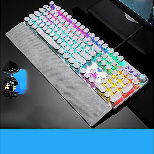 SSCJ Mechanische Gaming-Tastatur, 104 Tasten, kompakt, Tenkeyless LED Hintergrundbeleuchtung, Gaming-Tastatur mit Rutschfester Handauflage, 22 Beleuchtete Modi für Computer PC Mac Gamer -