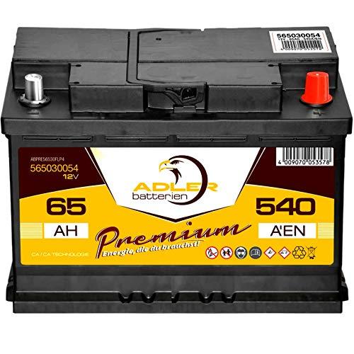PKW Starterbatterie 12V 65Ah wartungsfrei Adler Autobatterie ersetzt 55Ah 60Ah 62Ah 63Ah