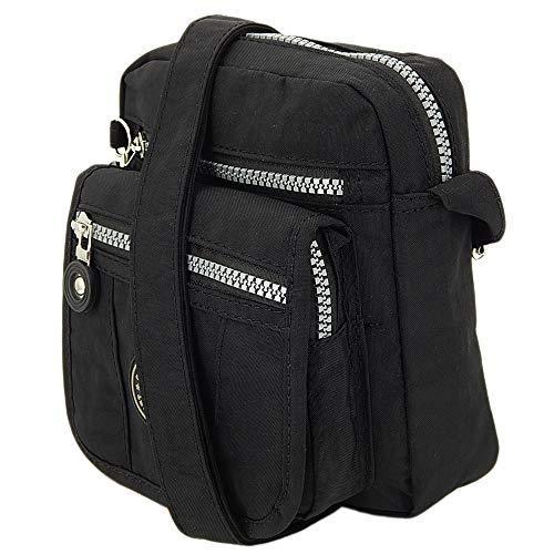 ekavale ® kleine Umhängetasche Damentasche aus hochwertigem wasserabwesendem Nylon Schultertasche (Schwarz) - Body Bag Handtasche