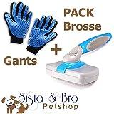PACK Gants+Brosse Autonettoyante : Gants Brosse Toilettage Massage Chien Chat Lapin Fermeture...