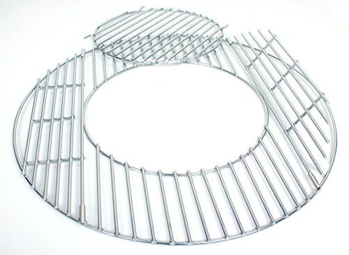 Hero Grillrost Edelstahl 54,5 cm mit 30 cm Loch für Erweiterungen 2 Klappen Robuste 5 mm