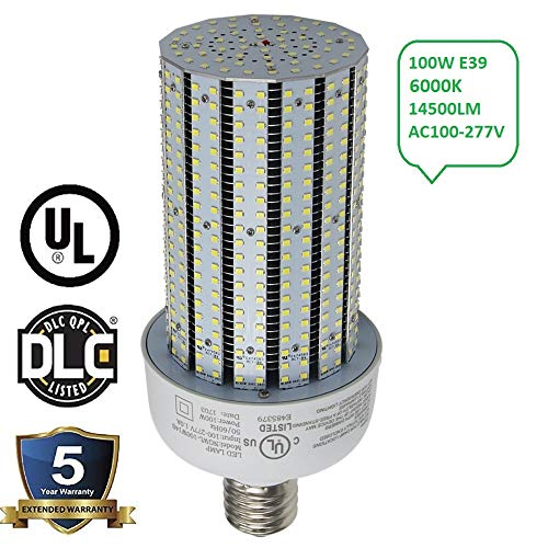 ngtlight AC90-277V, 100Watt LED Corn Cob Licht ersetzen 400W Metall Kompakt, E39Mogul Sockel 6000K Tageslicht 13442lm, die in Parkplatz/Street/Wall Pack Beschläge/High Bay Bestandteil -