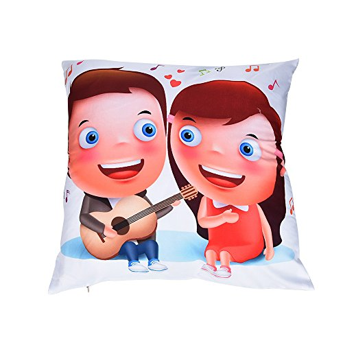 mingfa Valentine 's Day Kissenbezüge Werfen Kissenbezug Romantische Sweet Muster für Sofa Bett Home Dekoration 45x 45cm, Flax, F, Size: 45cm*45cm (Schneemann-kissen Zustand)