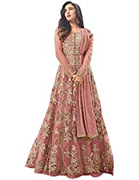 5202 PINK Women's Latest Designer, Party Wear, Traditional, Net Heavy Embroidered Multi Color Anarkali Semi-Stitched...
