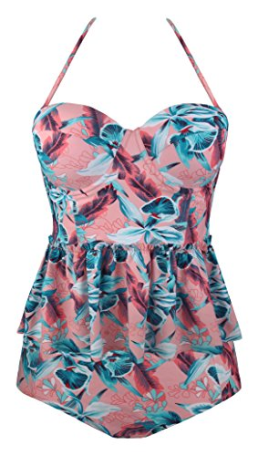 Angerella Damen Vintage Retro Floral Print Ruffles Tankini Oben Schlanke Taille Bikini Set