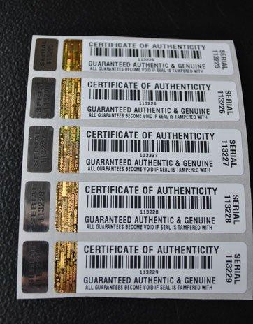 500x Echtheitszertifikat Echtheitszertifikat manipulationssicherer Sicherheit Aufkleber/Etiketten mit Hologramm und entsprechende Kleines Label