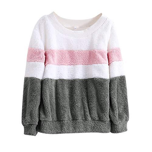 MIRRAY Damen Winter Warme Farbabstimmung Solide Patchwork O Hals Sweatshirt beiläufige Bluse