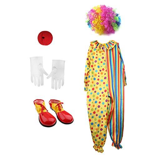 Sharplace set di costume parrucca colorata+rosso naso+abito+scarpe+gunati per cosplay pagliaccio halloween