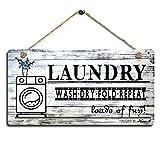 Smarten Arts Vintage Wäscheschild aus Holz, Bedruckt, zum Aufhängen, waschen, trocken gefaltet, Größe: 29,5 x 15,2 cm