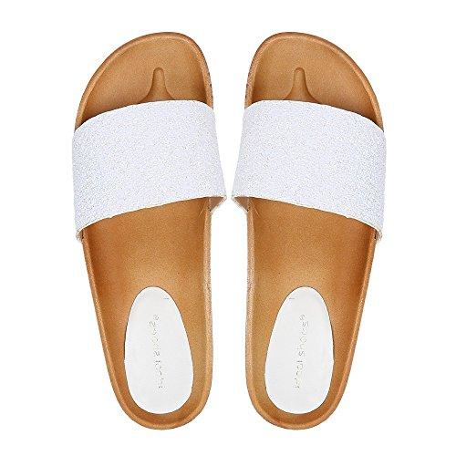 Ideal-Shoes Nu-piedi, effetto glitterato, Fadia Bianco (bianco)