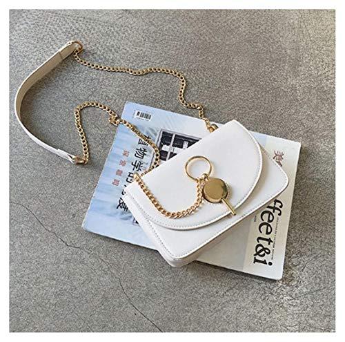ZGFJST Small Leather Cross Body ,Single Shoulder Messenger Bag Schnalle Kette Persönlichkeit kleine quadratische Tasche, diagonal Kreuz Paket @ weiß - Patina Single