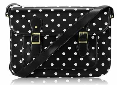 Ladies Womens Black Spot Polka Dot Satchel Shoulder Bag Spotty Crossbody Handbag