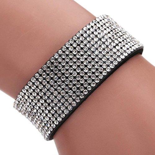autumnfall® Frauen Mädchen Strass Elefant Muster Quarz Armband Armbanduhr, silber, 20*2.5cm (Fan-charme-armband)