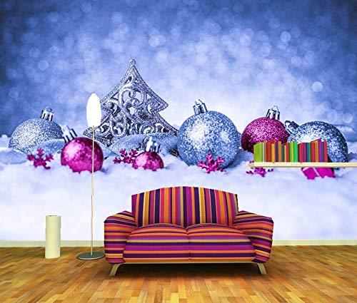 nierte Wandgemälde, Feiertage Weihnachten Schneekugeln Weihnachtsbaum Tapete, Restaurant Bar Wohnzimmer Tv Wand Schlafzimmer 3D Tapete ()
