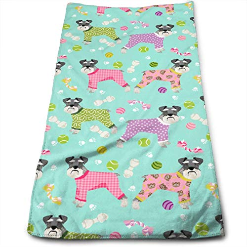 Juzijiang Schnauzers in Jammies Zippered Polyester Bath Towels for Hotel-Spa-Pool-Gym-Bathroom - Super Soft Absorbent Ringspun Towels 12