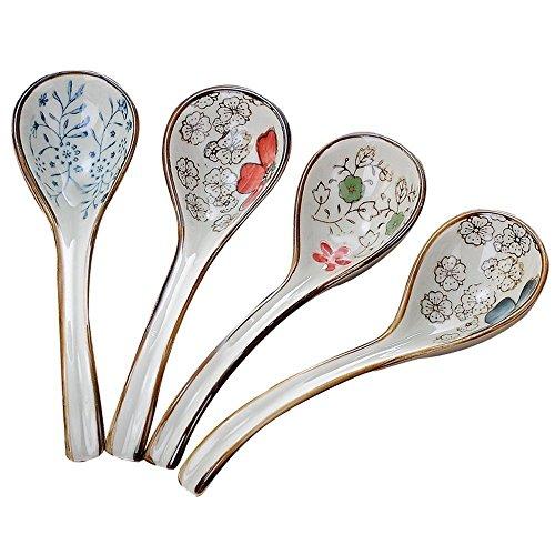 xytmy cuchara agitación cuchara de mango largo creativo pintado a mano de estilo japonés vajilla cuchara, juego de 4 width=