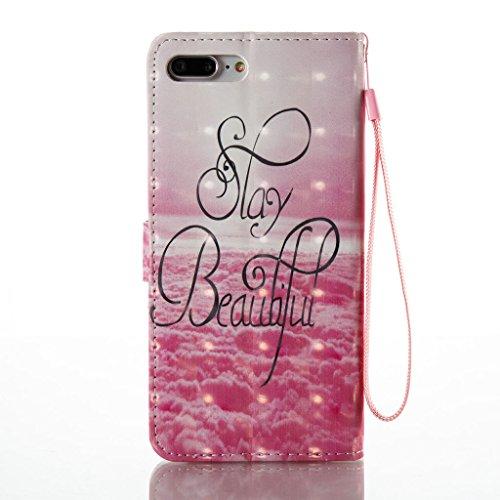 iPhone 7 Plus Hülle,Careynoce Schmetterling Blume Traumfänger 3D Erleichterung Retro Painted Prägemuster Design PU Leder Wallet Case Folio Schutztasche HandyHülle mit Standfunktion Kartenfächer für Ap M01