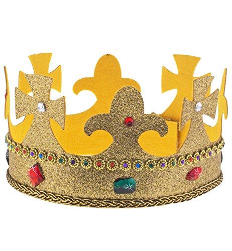 Glitzer Gold Krone mit Edelsteinen - Tolle Königskrone -
