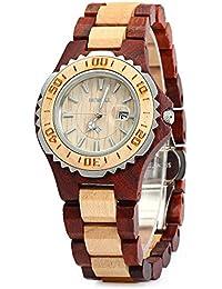 Leopard Shop Bewell zs-100bl Mujeres Reloj De Cuarzo carcasa de metal Madera 30m Resistencia al agua arce rojo