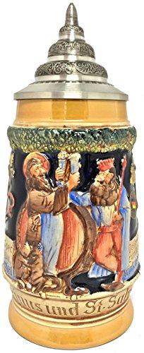 Pinnacle Peak Trading Company Gambrinus King of Beers and Saint Salvator Toasting German Beer Stein .5 L Gambrinus Stein