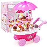 Homesave Toddler Playset, Ice Cream Car Set Candy Trolley mit 7 Color Lights,38cm Höhe 31pcs,Pink