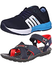 Ethics Perfect Combo Pack Of Blue Sports Shoes & Navy Blue Red Sandal For Men's