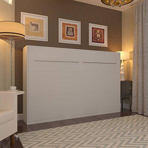 Schrankbett 120×200 cm Horizontal Weiß, ideal als Gästebett – Wandbett, Schrank mit integriertem Klappbett, SMARTBett - 2