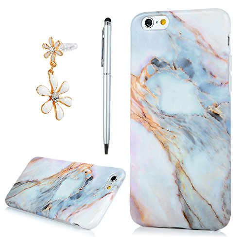 Price comparison product image iPhone 6 Case,iPhone 6S Case,Badalink Marble Design Clear Ultra Thin Slim Soft Flexible Scratch Resistant Shockproof Protective Cover Bumper TPU Rubber Silicone Skin Cover for iPhone 6/iPhone 6S 4.7 inch(Set 4)