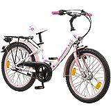 Galano 20 Zoll Kinderfahrrad Blossom LE Mädchenrad Jugendrad Cityrad, Farbe:Weiss/Pink