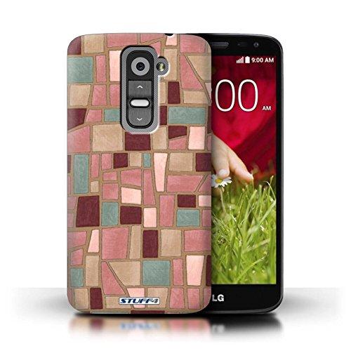 Kobalt® Imprimé Etui / Coque pour LG G2 Mini/D620 / Brun/Rouge conception / Série Carrelage Mosaïque Rose/Pourpre