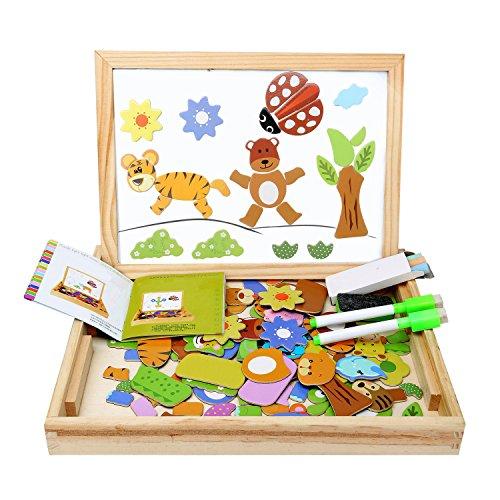 [Verbessertes Material] Magnetisches Holzpuzzle Lernspielzeug Pädagogische Puzzle aus Holz für Baby Kleinkinder Doodle ab 2 3 4 5 Jahren Tolle Geschenke