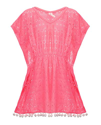 iDrawl Eine Größe Bikini Cover Up Pink Pareos Quaste Strandkleider für Mädchen 7-13 Jahre Alte - Mädchen Größe Bikini 8