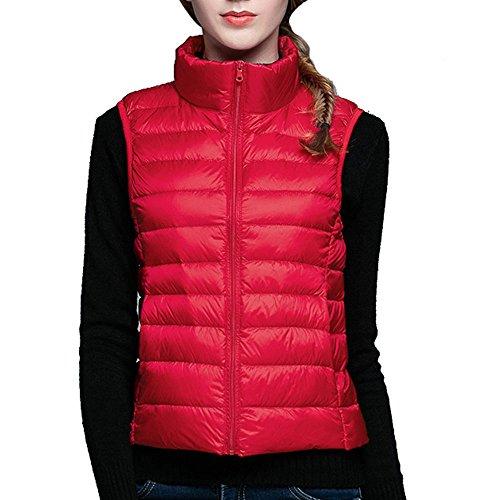 Bestfort Ultraleicht Daunenweste Damen Stehkragen Weste für Winter Outdoor Einfarbig