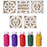 LOF Ready To Draw Rangoli Making Stencils - Design Creativity Diwali Floor Design - Attractive Assorted Design Set Of 10 Pcs With Free 5 Differnt Colors