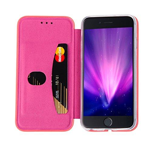 MyGadget Flip Case Hülle für Apple iPhone 7 mit Kartenfach und Standfunktion Klapphülle aus Kunstleder (PU) Schutzhülle Wallet Book Cover - Schwarz Flip Case Rosa