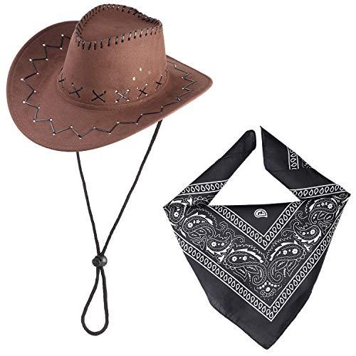 Beefunny Cowboy Hut und Paisley Bandana Wild Western Kostüm Zubehör Set Gr. 85, coffee