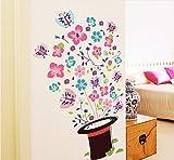 Colorido Sombrero Mágico Flor Mariposa Pegatinas de Pared de Vinilo Autoadhesivo Sala de estar Dormitorio Guardarropa Calcomanías Arte Decoración para el hogar
