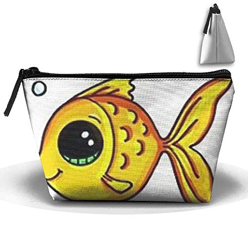 Trapezoidal Bag Makeup Bag Yellow Gold Fish Bubble Storage Portable Travel Wash Tote Zipper Wallet Handbag Carry Case