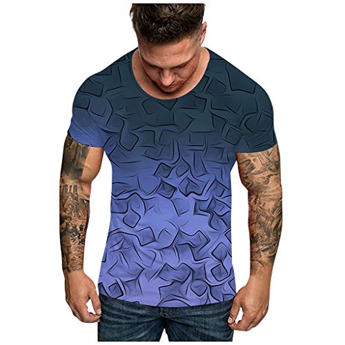 Realde Herren Kurzarm Rundhals Ausschnitt T-Shirt Tops Freizeit 3D Hypnose Ddruck Loose Fit Oberteil Passt super auch zur Jeans Männer Oversize Bequem Bluse