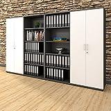 Weber Büro PROFI Schrankwand abschließbar Schrank Büroschrank Flügeltürenschrank Regalschrank 5 OH Anthrazit/Weiß