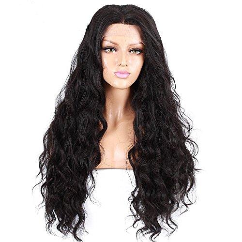 Vita diaries 250% densità glueless sintetiche lace front parrucca naturale lunga wave 10% capelli umani + 90% fibra resistente al calore glueless lace front parrucca sintetica per le donne