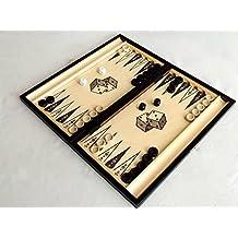 Grande classico Backgammon in legno Set 40 x 46 cm nel cassetto nero elegante