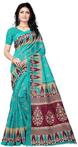 Vimalnath Synthetics Printed designer Bhagalpuri Kota Silk Saree(Green)